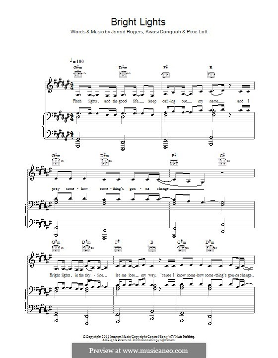 Bright Lights (Tinchy Stryder feat. Pixie Lott): Für Stimme und Klavier (oder Gitarre) by Jarrad Rogers, Kwasi Danquah