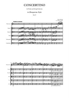 Concertino in A Minor for Violin and Piano in Hungarian style, Op.21: Version for violin and string orchestra by Oskar Rieding