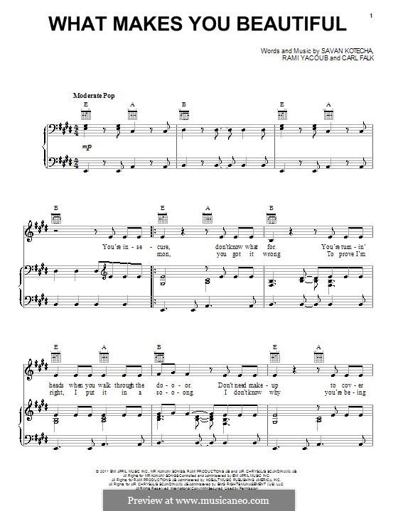 What Makes You Beautiful (One Direction): Für Stimme und Klavier (oder Gitarre) by Carl Falk, Savan Kotecha