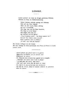 Lénore: Vollpartitur by Henri Duparc