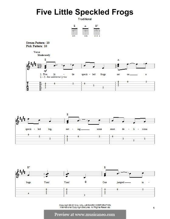 Five Little Speckled Frogs: Für Gitarre mit Tabulatur by folklore