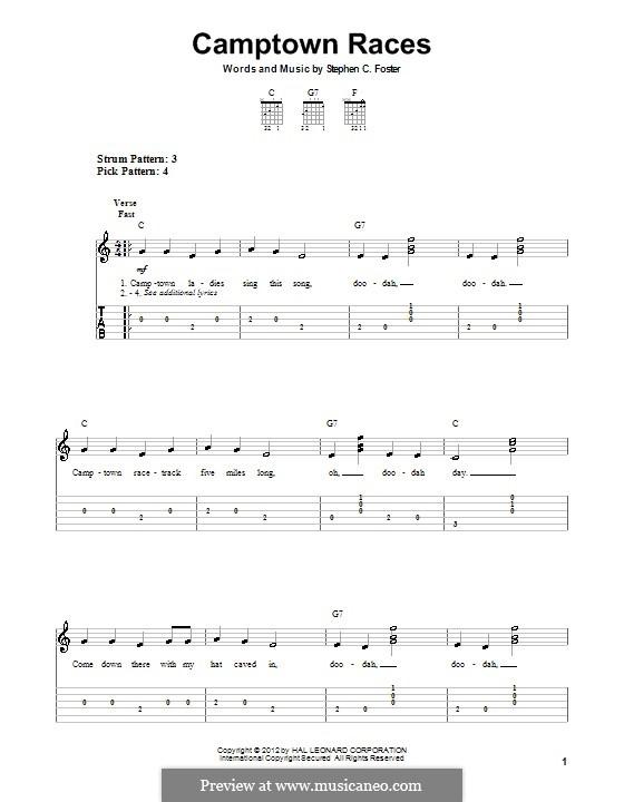 Camptown Races: Für Gitarre by Stephen Foster