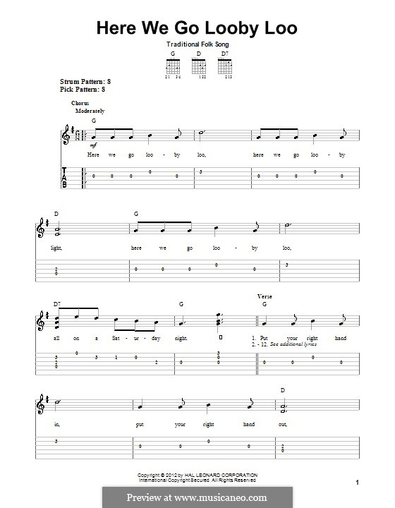 Here We Go Looby Loo: Für Gitarre mit Tabulatur by folklore