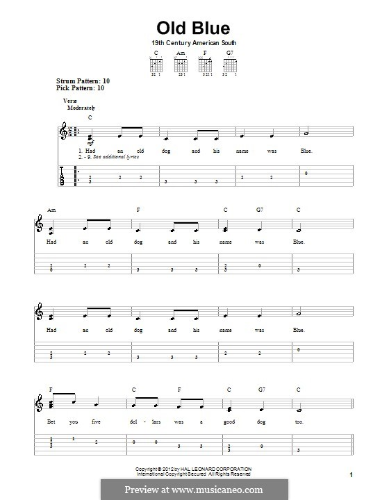 Old Blue: Für Gitarre mit Tabulatur by folklore