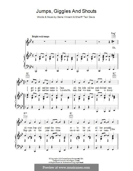 Jumps, Giggles & Shouts: Für Stimme mit Klavier oder Gitarre by Gene Vincent, Sheriff Tex Davis