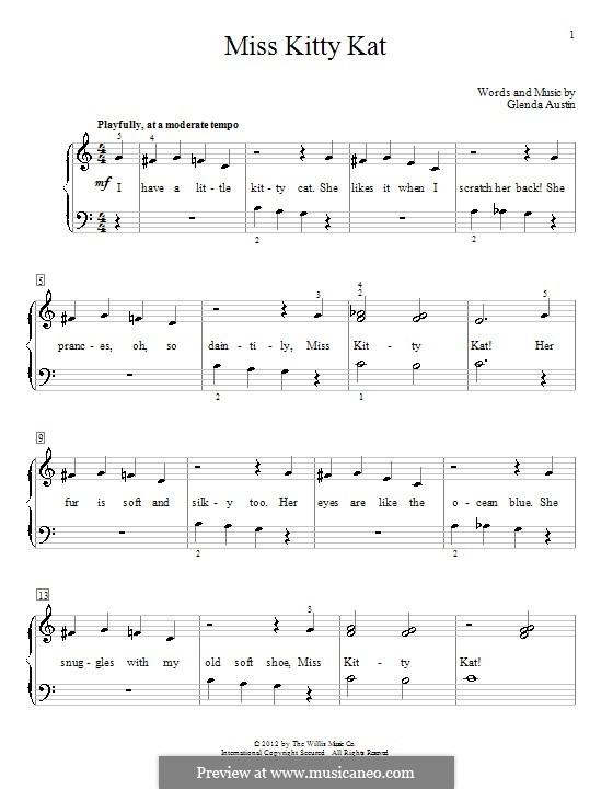 Miss Kitty Kat: For easy piano with words by Glenda Austin