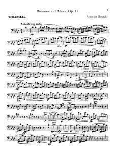 Romanze in f-Moll, B.39 Op.11: Cellostimme by Antonín Dvořák