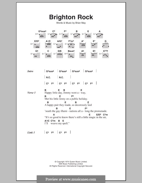 Brighton Rock: Text und Akkorde by Brian May