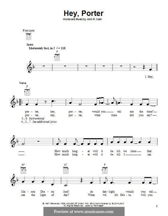 Hey, Porter: Für Ukulele by Johnny Cash