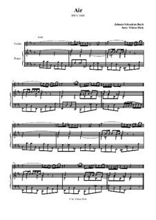 Arie. Bearbeitung für zwei Interpreten: Geige und Klavier by Johann Sebastian Bach