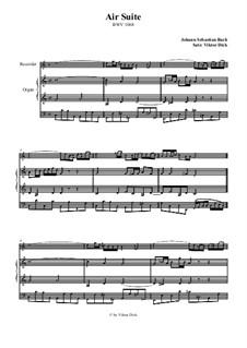 Arie. Bearbeitung für zwei Interpreten: Blockflöte und Orgel by Johann Sebastian Bach