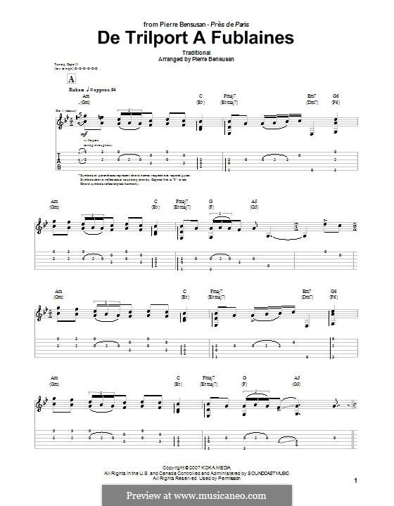 De trilport a fublaines: Für Gitarre mit Tabulatur by folklore