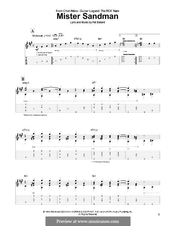 Mister Sandman (The Chordettes): Für Gitarre by Pat Ballard