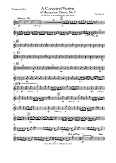 A Chequered Version of Hungarian Dance No.5, for ten-piece brass ensemble and snare drum: Stimmen by Paul Burnell