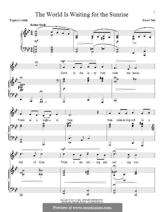 The World is Waiting for the Sunrise: Für Stimme und Klavier by Ernest Seitz