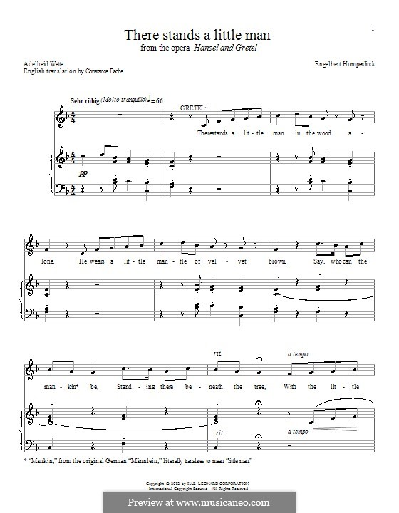 Hänsel und Gretel: There Stands a Little Man. Version for voice and piano by Engelbert Humperdinck