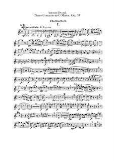 Konzert für Klaiver und Orchester in g-Moll, B.63 Op.33: Klarinettenstimmen by Antonín Dvořák