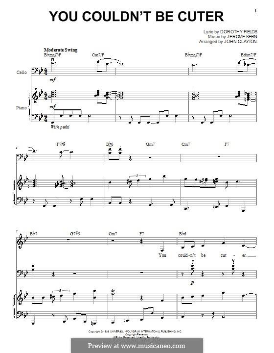 You Couldn't Be Cuter (Yo-Yo Ma): Für Stimme und Klavier (oder Gitarre) by Jerome Kern