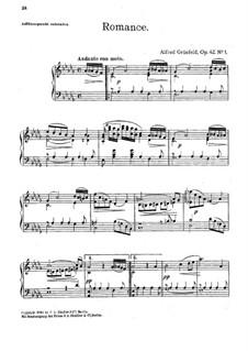 Romanze in Des-Dur, Op.42 No.1: Für Klavier by Alfred Grünfeld