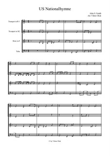 The Star Spangled Banner (National Anthem of The United States): Für Blechbläserquartett by John Stafford Smith