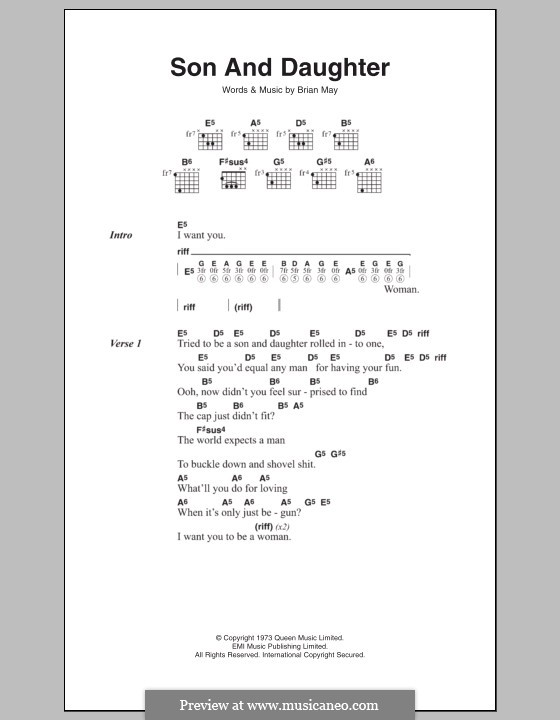 Son and Daughter (Queen): Text und Akkorde by Brian May