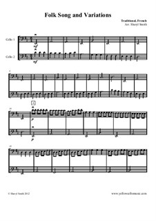Folk Song, French Traditional for two cellos (cello duet): Folk Song, French Traditional for two cellos (cello duet) by folklore