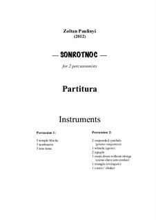 Sonrotnoc (2012), for two percussionists (Score and parts): Sonrotnoc (2012), for two percussionists (Score and parts) by Zoltan Paulinyi