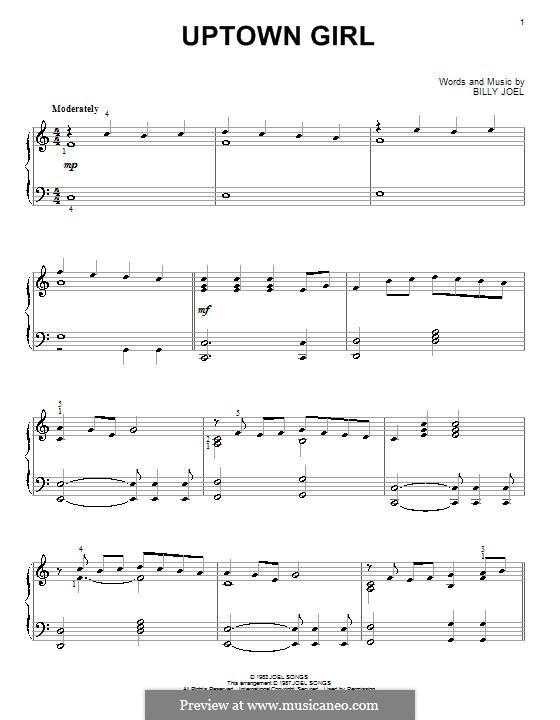 Uptown Girl: Für Klavier (Glee Cast) by Billy Joel