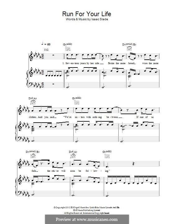 Run for Your Life (The Fray): Für Stimme und Klavier (oder Gitarre) by Isaac Slade, Joseph King
