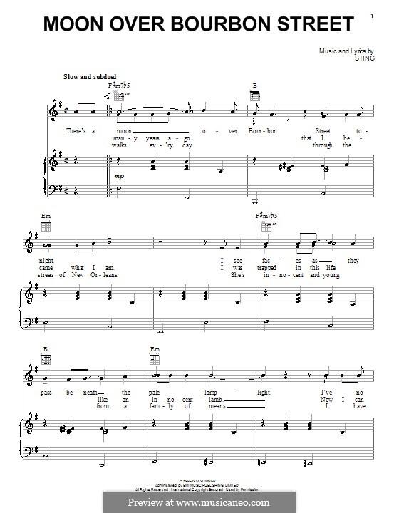 Moon Over Bourbon Street: Für Stimme und Klavier (oder Gitarre) by Sting