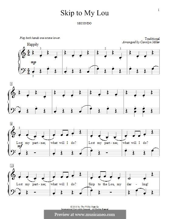 Skip to My Lou: Für Klavier, vierhändig by folklore