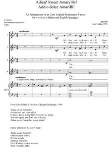 Englisches Madrigale I: No.12 Adieu, Sweet Amaryllis by John Wilbye