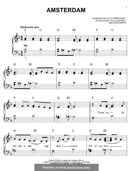 Amsterdam (Coldplay): Für Klavier by Chris Martin, Guy Berryman, Jonny Buckland, Will Champion