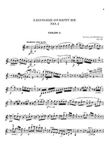 Leonore. Ouvertüre No.1, Op.138: Violinstimme I by Ludwig van Beethoven