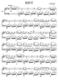 Streichquintett Nr.5 in E-Dur, G.275 Op.107: Menuett für Klavier (oder Cembalo) by Luigi Boccherini