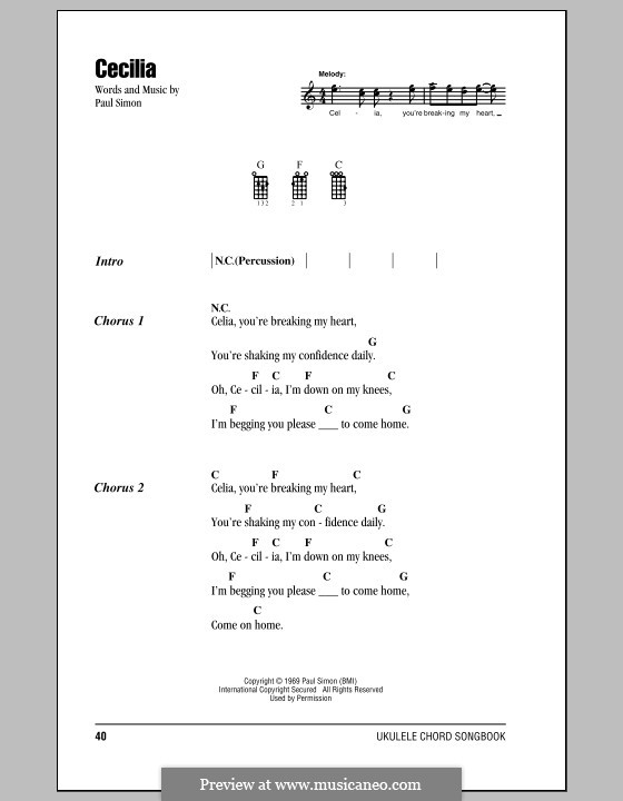 Cecilia (Simon & Garfunkel): Für Ukulele by Paul Simon