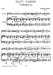 Liebesgruss, Op.12: Für Violine und Klavier – Partitur, Stimme by Edward Elgar