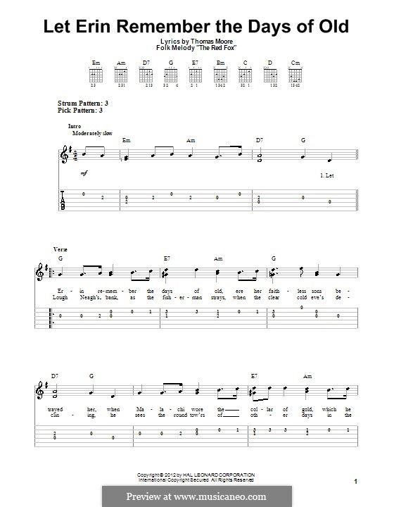 Let Erin Remember the Days of Old: Für Gitarre by folklore