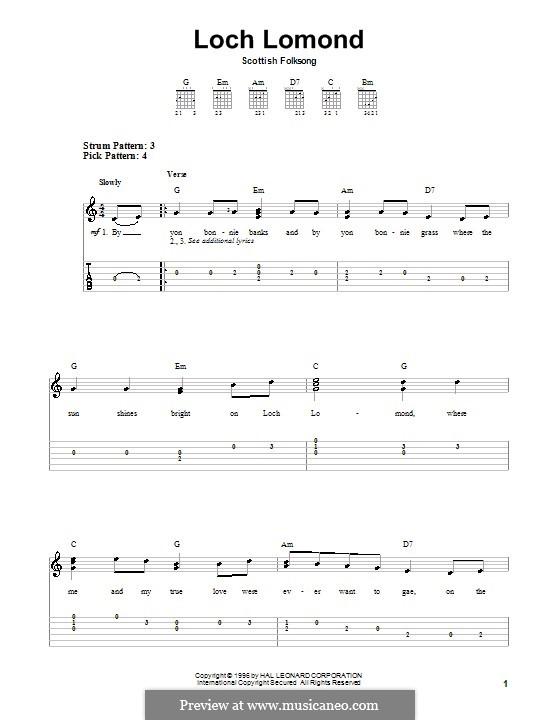 Loch Lomond: Für Gitarre mit Tabulatur by folklore
