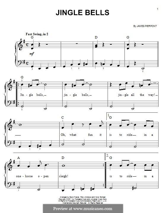 Jingle Bells, für Klavier: Leichte Version für Klavier (mit Akkorden) by James Lord Pierpont