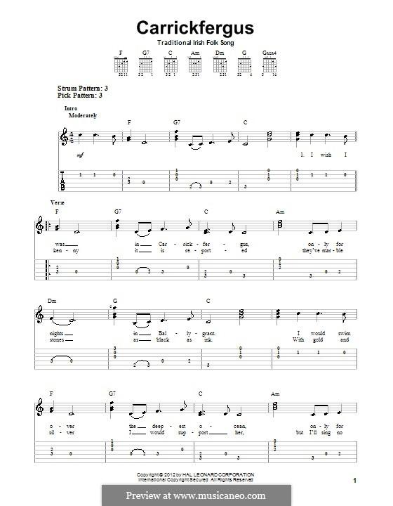 Carrickfergus: Für Gitarre mit Tabulatur by folklore