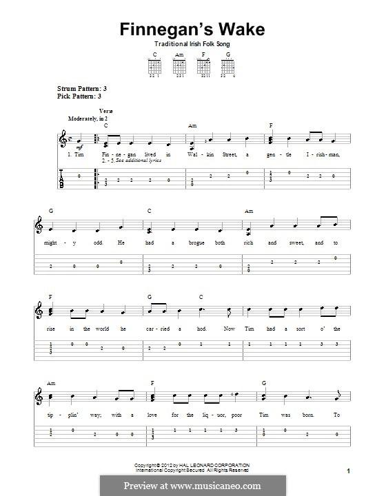 Finnegan's Wake: Für Gitarre mit Tabulatur by folklore