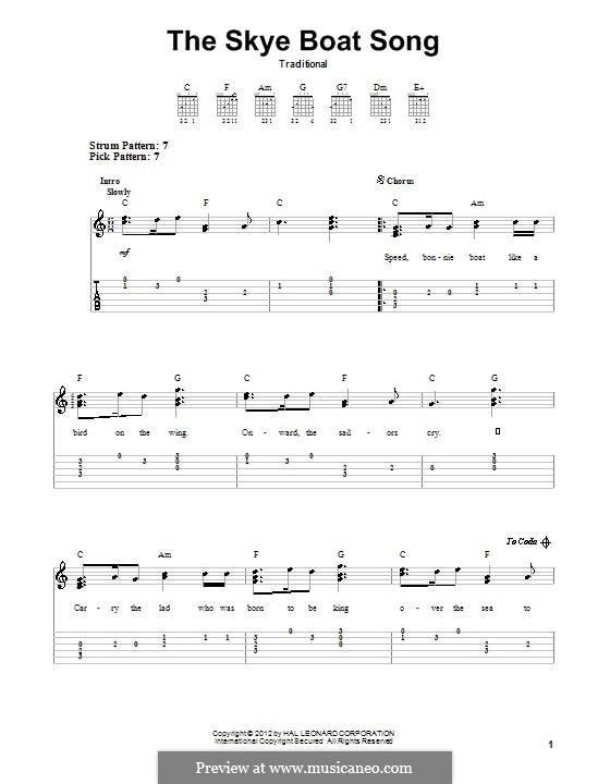 The Skye Boat Song: Für Gitarre mit Tabulatur by folklore