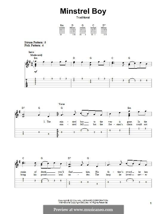 The Minstrel Boy (The Moreen): Für Gitarre mit Tabulatur by folklore