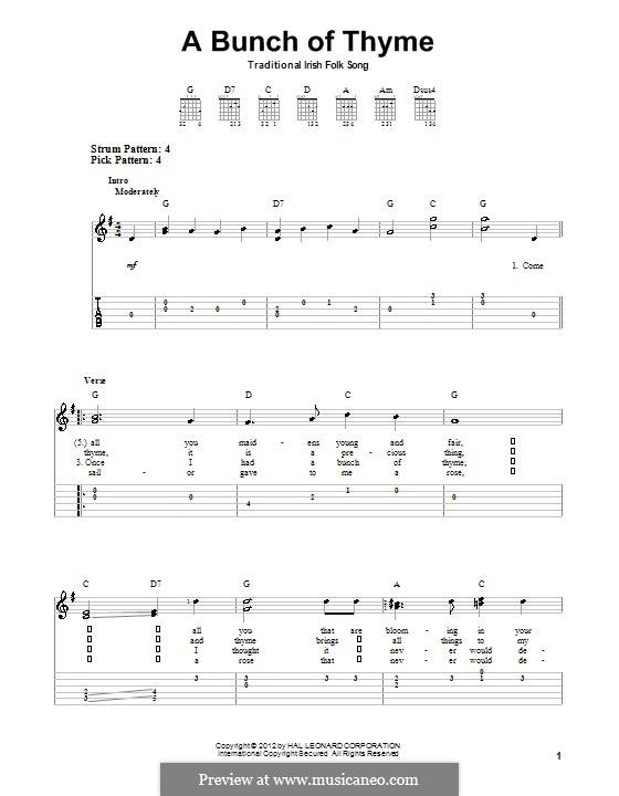 A Bunch of Thyme: Für Gitarre mit Tabulatur by folklore