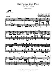 Sunflower Slow Drag. Ragtime: Masterversion by Scott Joplin, Scott Hayden