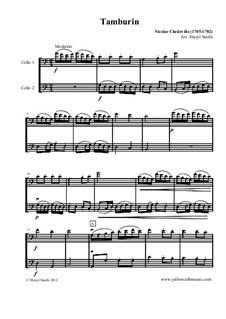 Tamburin for two cellos (cello duet / duo): Tamburin for two cellos (cello duet / duo) by Nicolas Chédeville