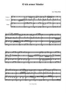 O ich armer Sünder: Für zwei Violinen und Klavier by folklore