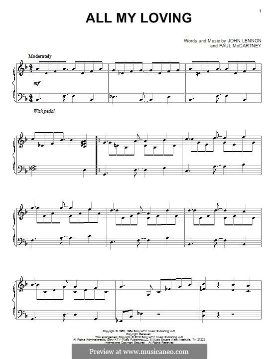 All My Loving (for guitar or piano): Für Klavier by John Lennon, Paul McCartney