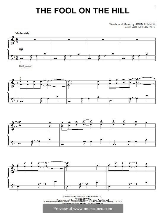 The Fool on the Hill (The Beatles): Für Klavier by John Lennon, Paul McCartney